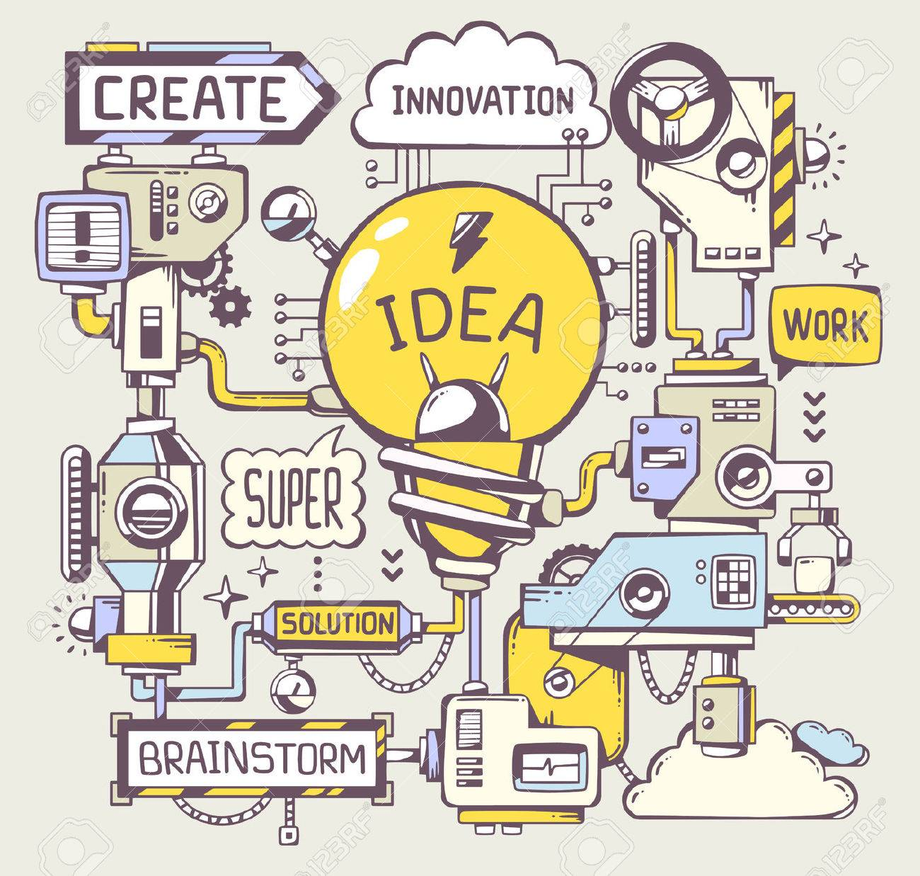 Vector illustration of successful model work of yellow light bulb with key word on a gray background. Line art hand draw design for web, site, advertising, banner, poster, board and print. - 38431291