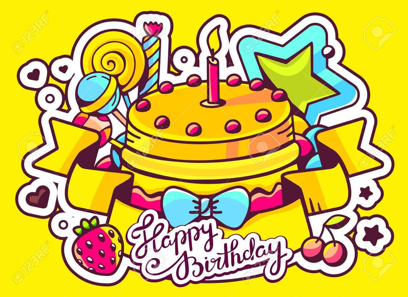 Vector Illustration Du Gâteau Avec Bougies Bonbons Et Le Ruban Avec Le Texte Joyeux Anniversaire Sur Fond Jaune Ligne De Tirage à La Main La