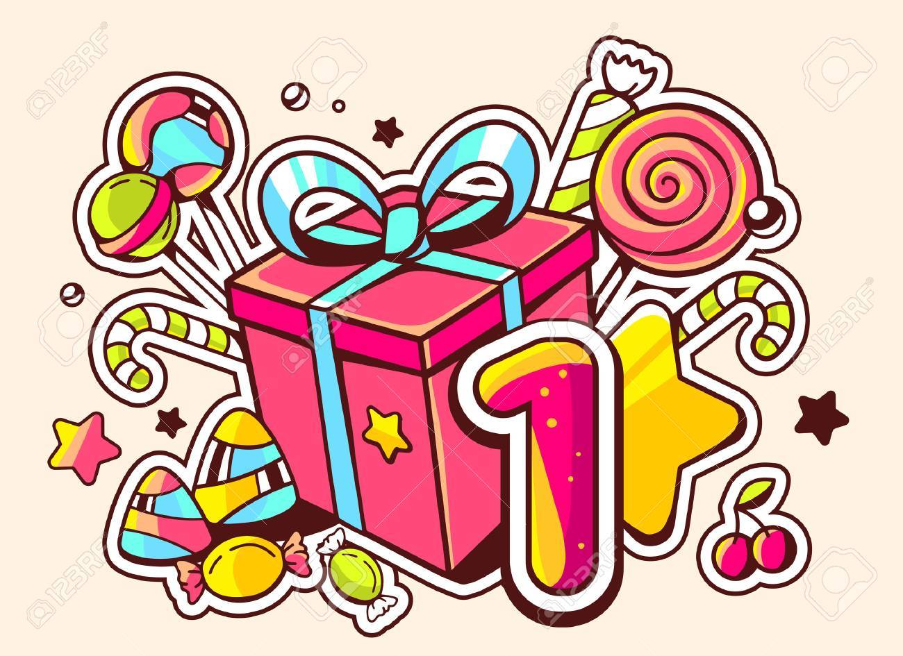 Vector illustration of gift box and confection with number one on light background with star and dot. Hand drawn line art design for web, site, advertising, banner, poster, board and print. - 40062748
