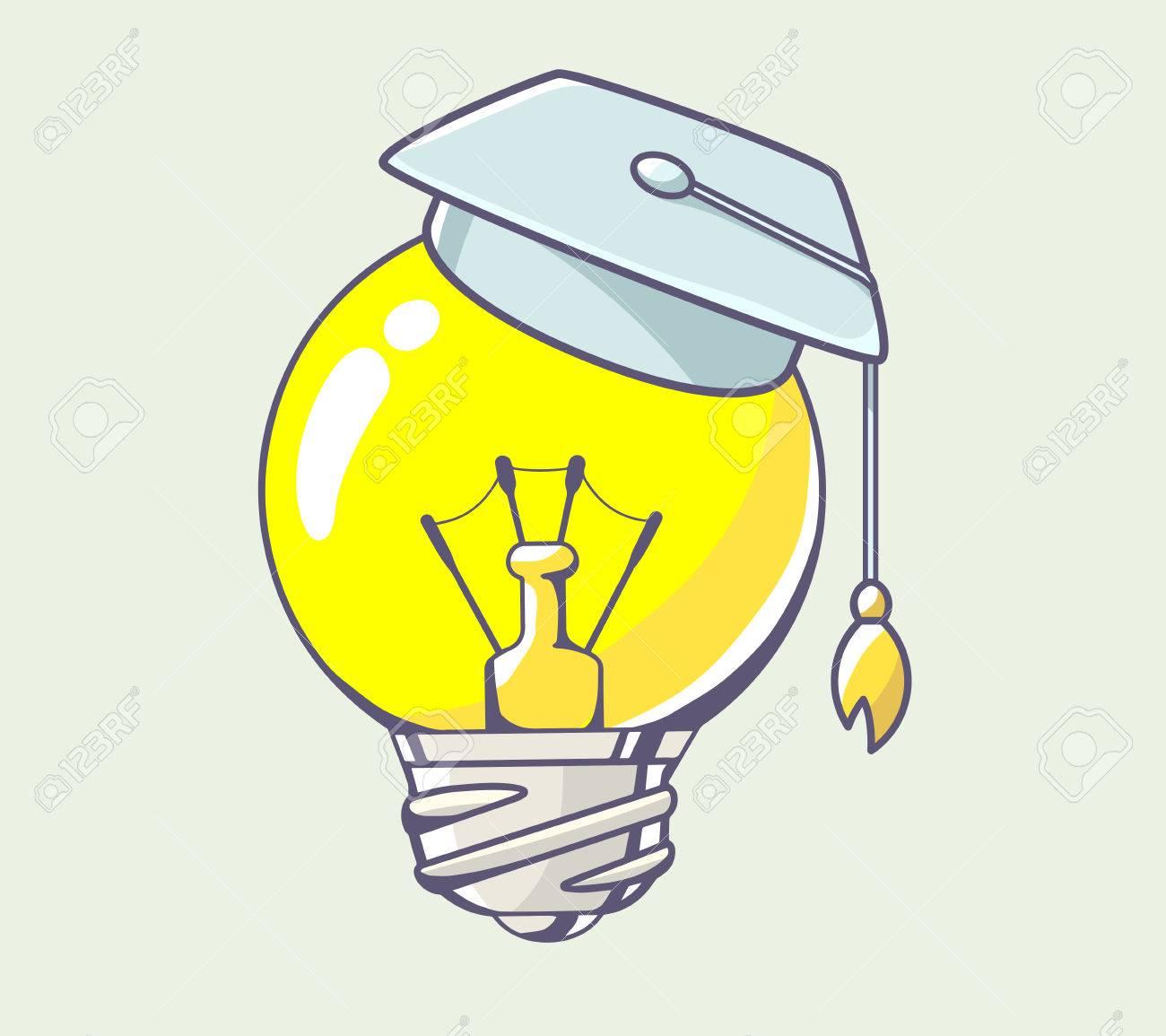 Vector illustration of yellow lightbulb with graduation cap on