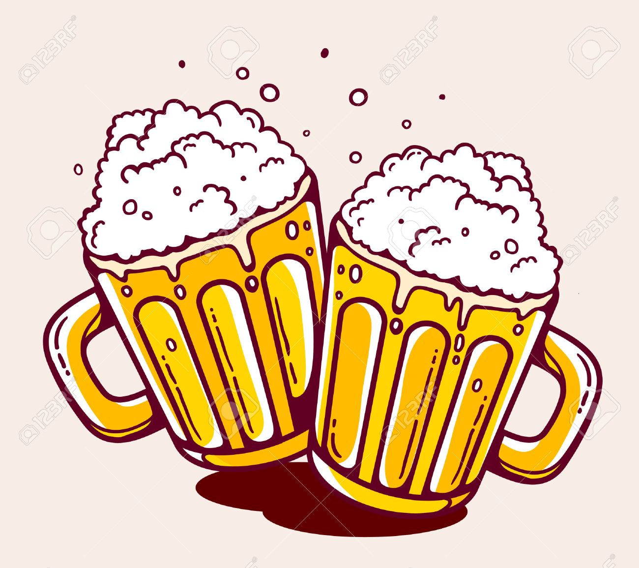 illustration of bright two beer mugs on yellow background. Hand drawn line art design for web, site, advertising, banner, poster, board and print. - 43174682