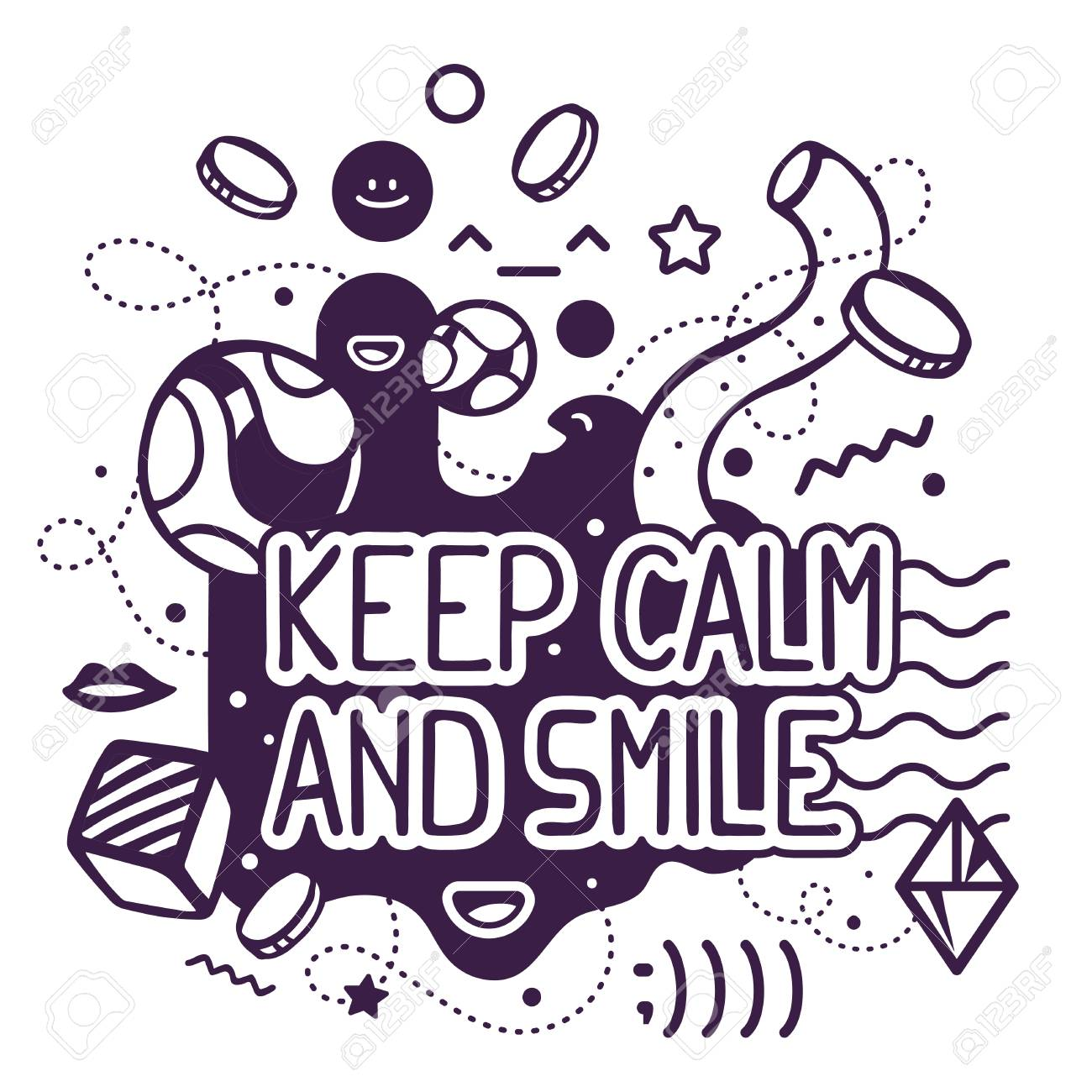 Vector Illustration Of Black And White Keep Calm And Smile Quote