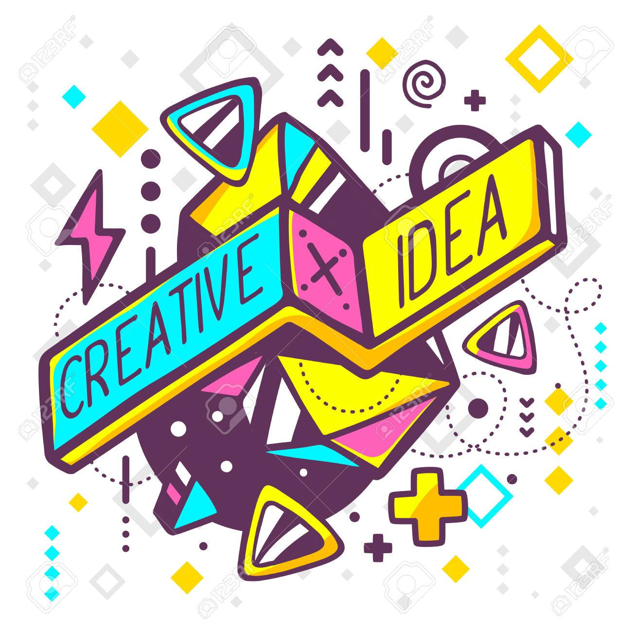 Vector illustration of bright creative and idea quote on abstract background. Hand draw line art design for web, site, advertising, banner, poster, board and print. - 43620408