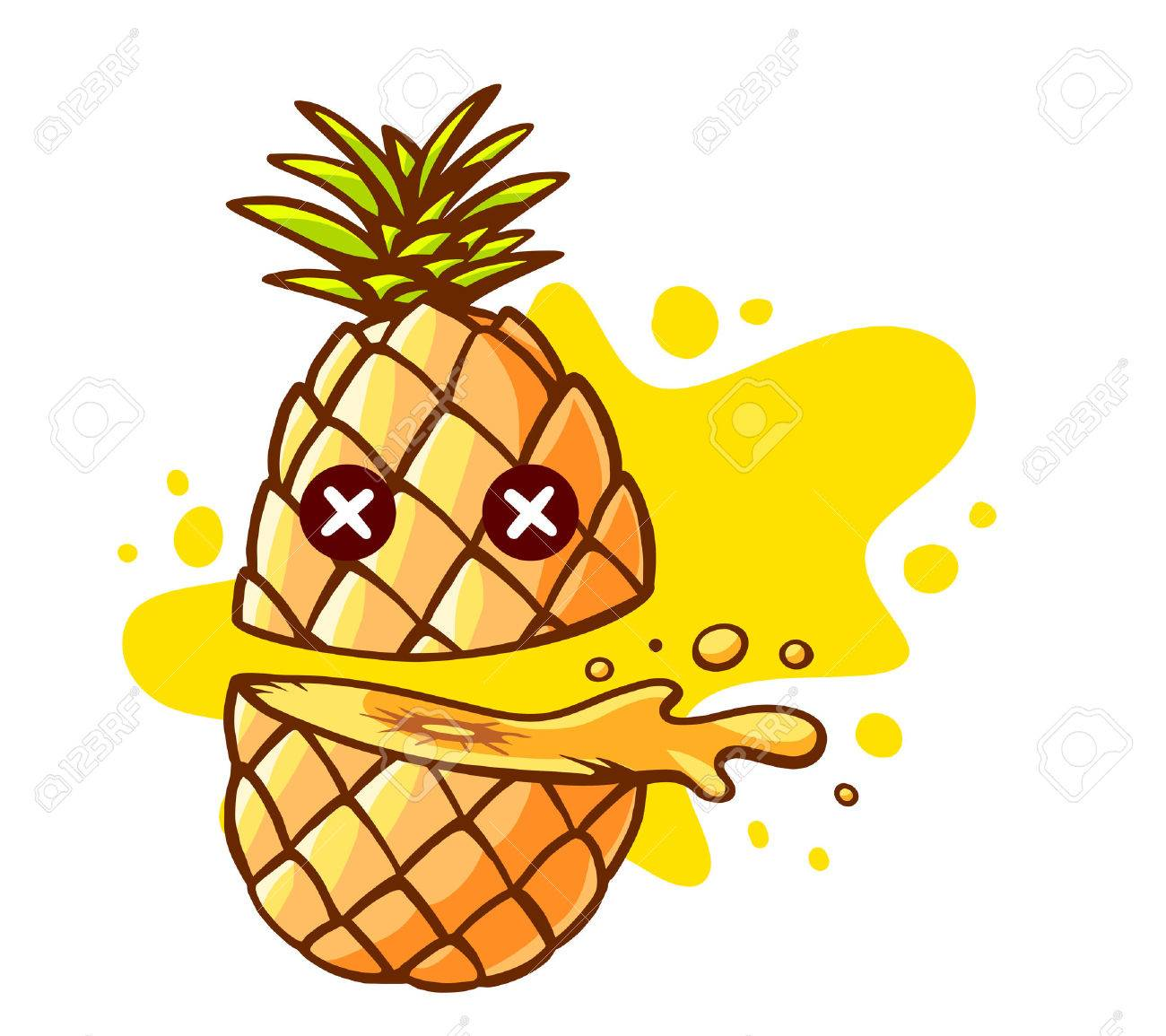 Vector illustration of colorful pineapple cut in half with eyes and yellow spot on white background. Hand draw line art design for web, site, advertising, banner, poster, board and print. - 43888274