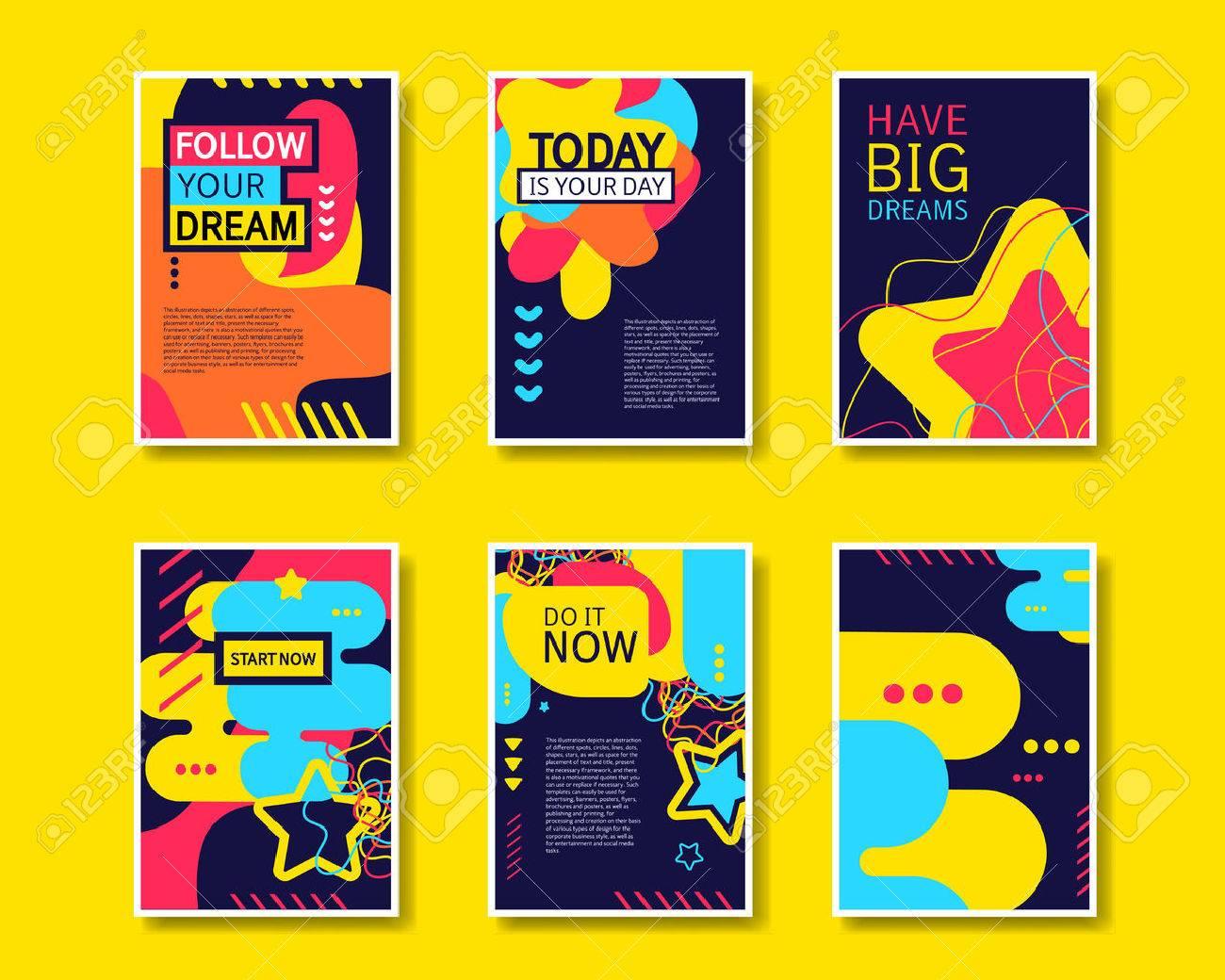 Standard Bild   Vector Colorful Design Abstrakte Moderne Template Sammlung  Für Banner, Flyer, Plakat, Broschüre Und Poster Auf Gelben Hintergrund.