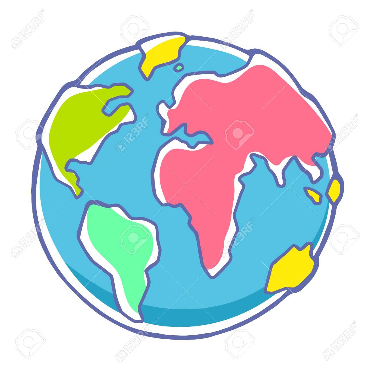 Dessin Planète Terre illustration colorée de vecteur de la planète terre sur fond blanc