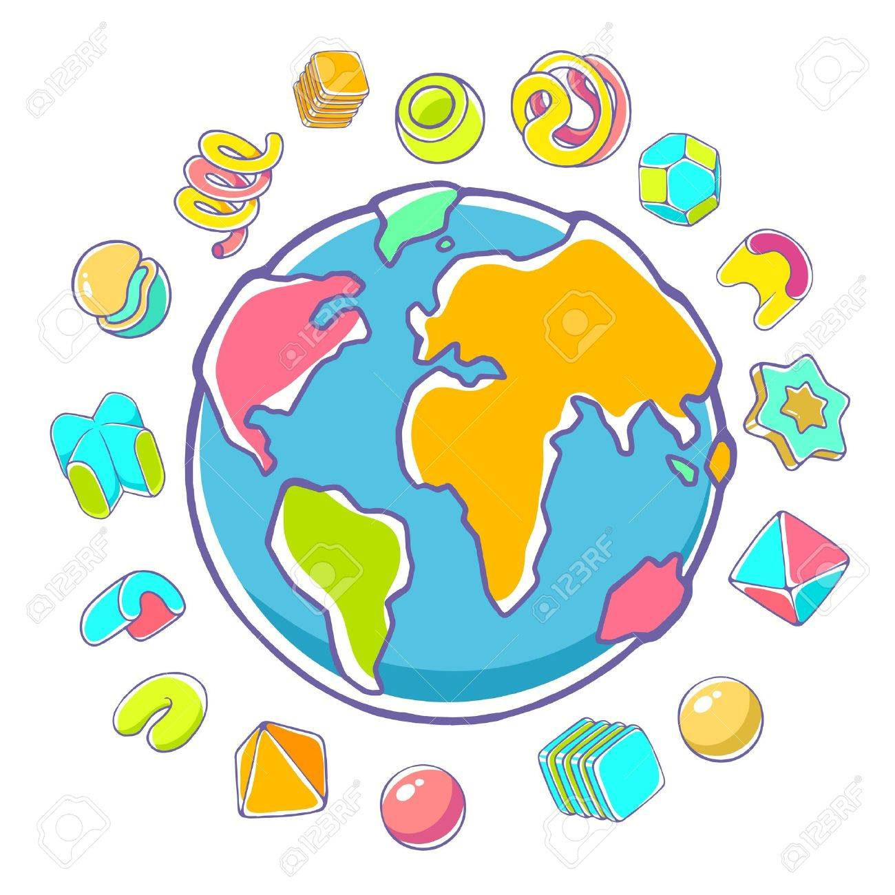 Vector Colorful Illustration Of Planet Earth On White Background