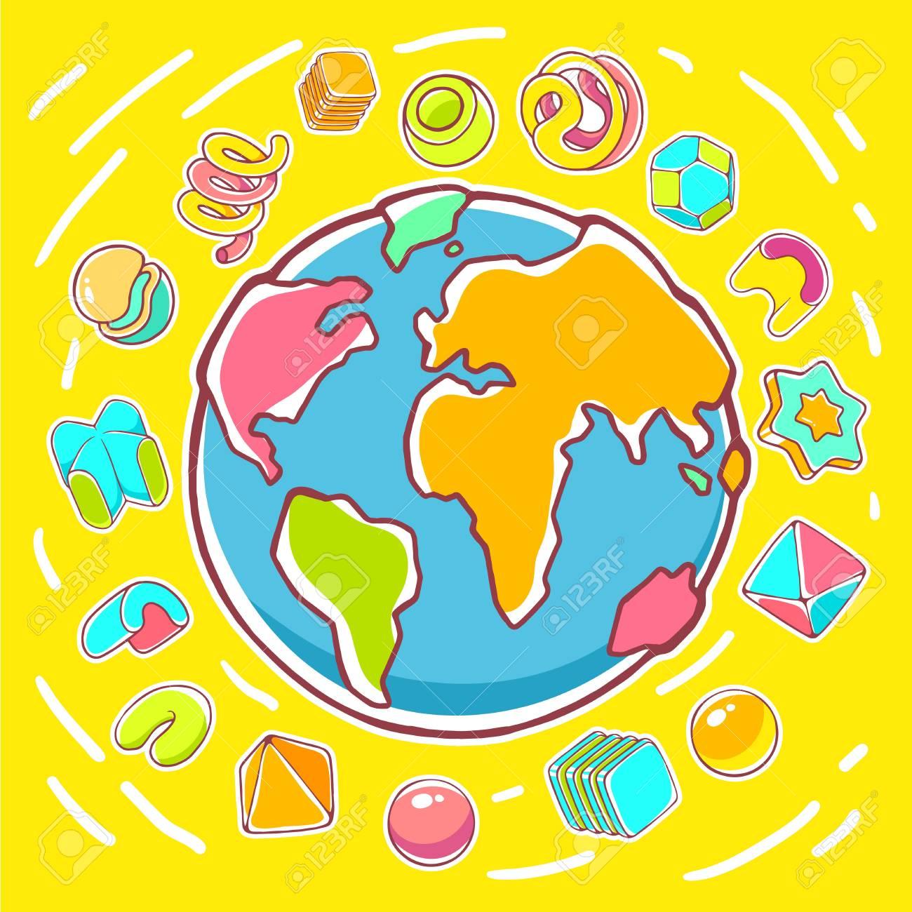 Illustration Colorée De Vecteur De La Planète Terre Sur Fond Jaune