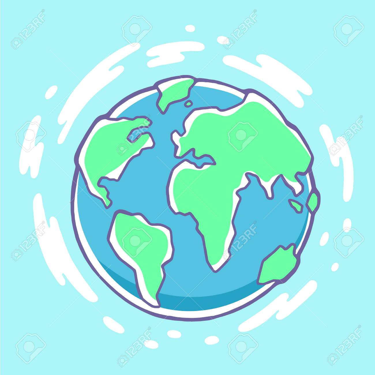 Vector Colorful Illustration Of Planet Earth On Blue Background