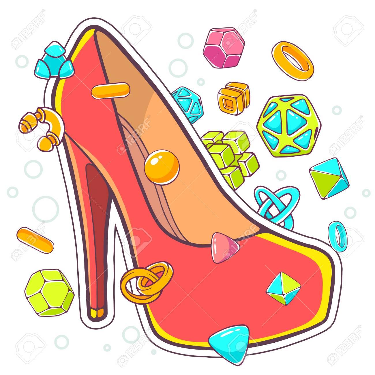 b3a8df4d Vector Ilustración Colorida De Zapatos De Mujer De Color Rojo Sobre Fondo  Blanco Con Elementos Abstractos. El Diseño Del Arte Línea De Drenaje De La  Mano ...