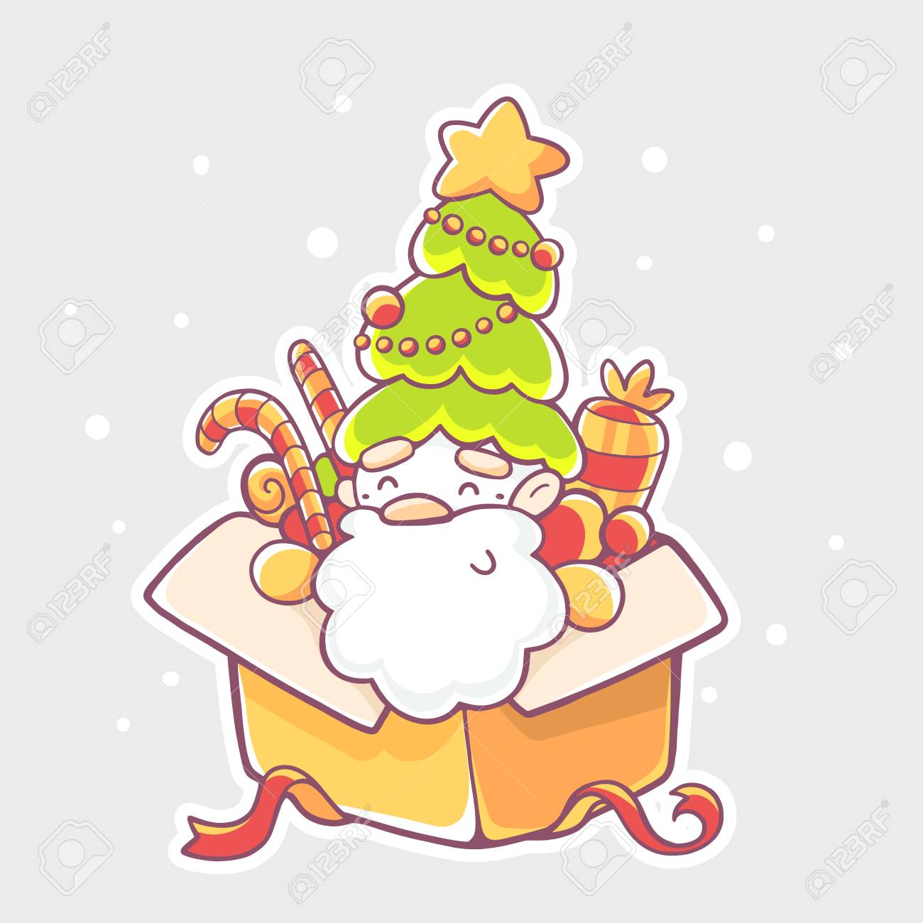 Vector Illustration Of Santa Claus Sitting In Yellow Gift Box Royalty Free Cliparts Vectors And Stock Illustration Image 49455520