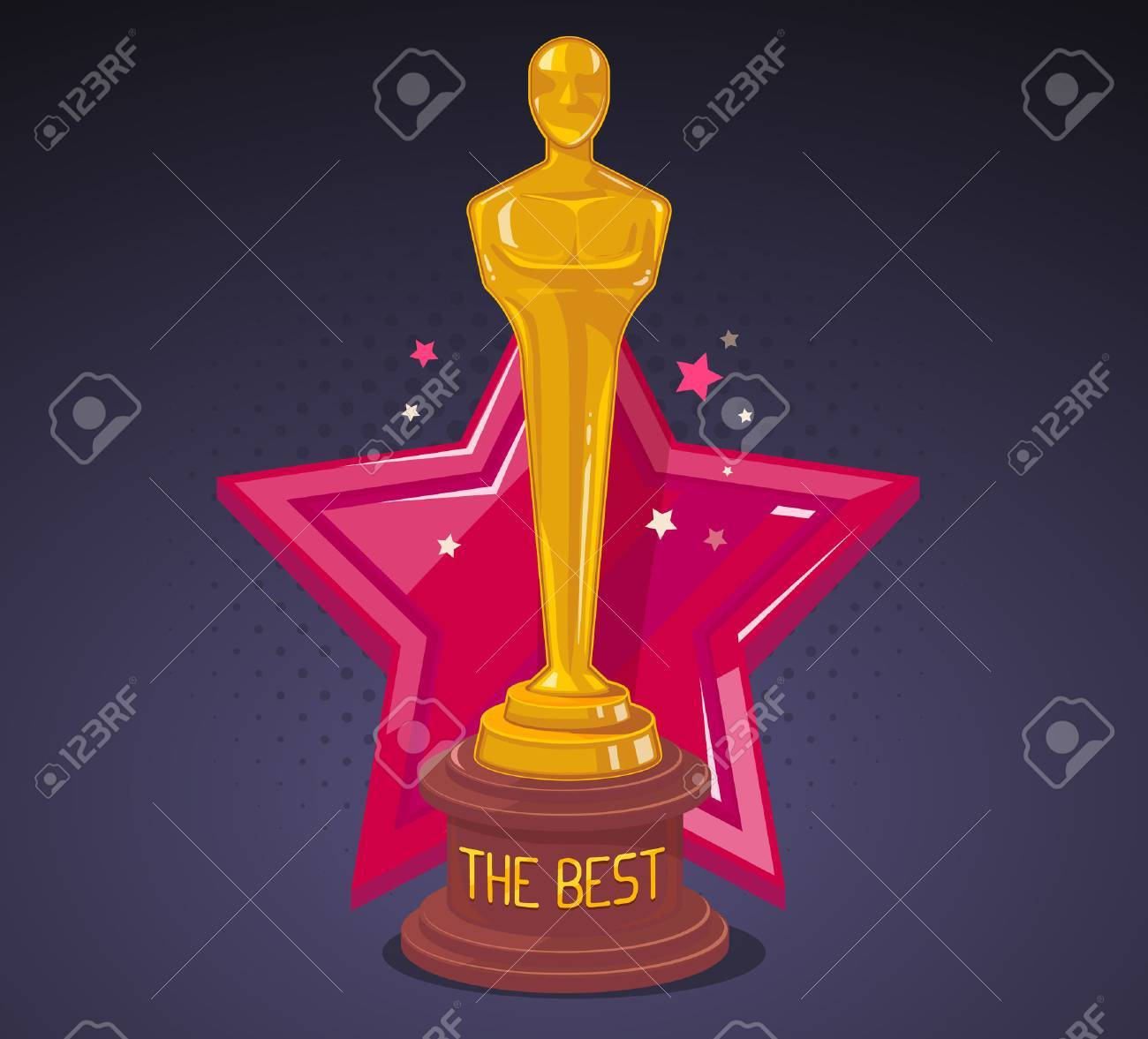 Vector illustration of yellow cinema award with red big star on dark background. Art design for web, site, advertising, banner, poster, flyer, brochure, board, paper print. - 52747013