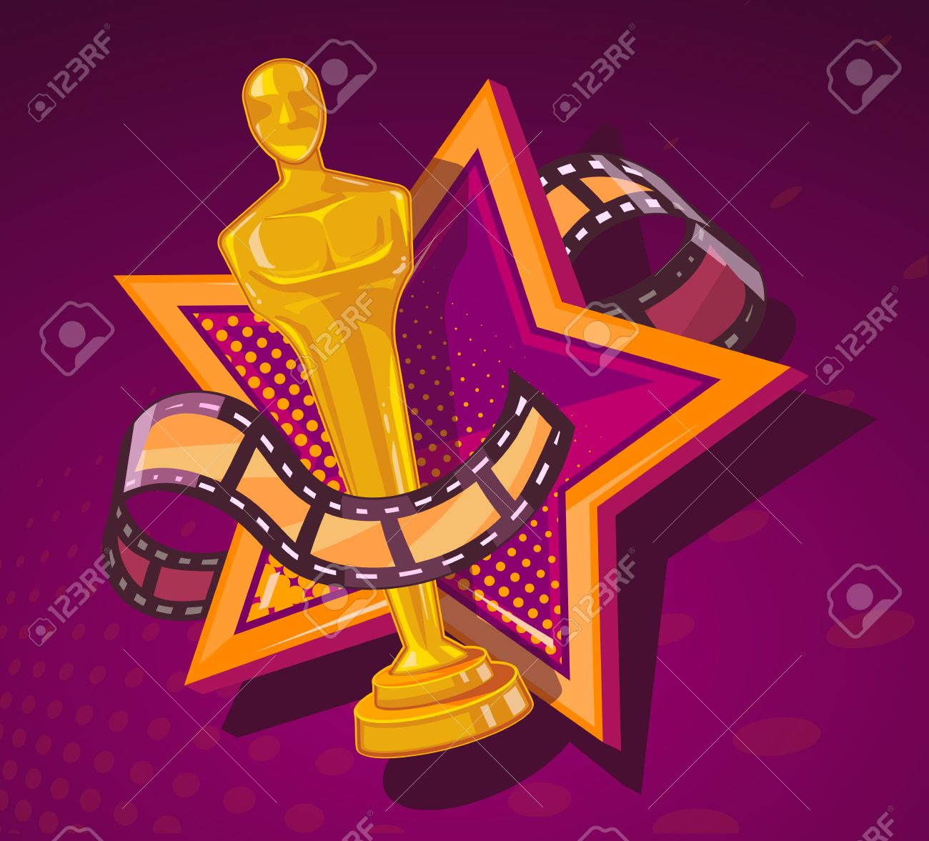 Vector illustration of yellow cinema award with big star and film reel on dark red background. Art design for web, site, advertising, banner, poster, flyer, brochure, board, paper print. - 52747014