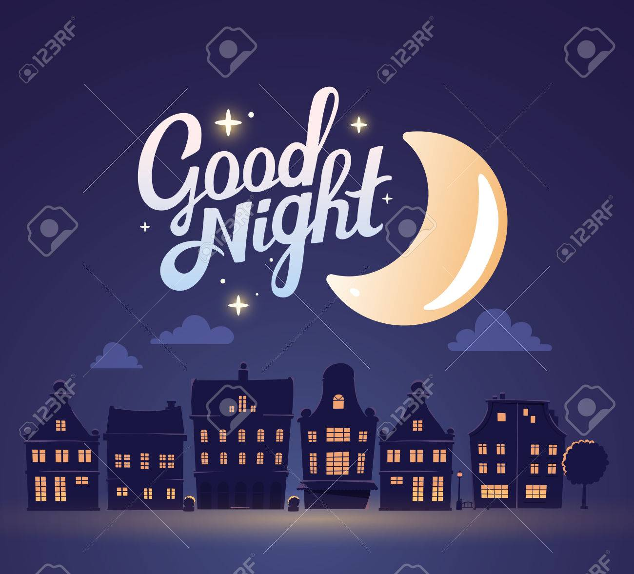 illustration of silhouette of night city landscape on dark blue sky background with big moon. Art design for web, site, advertising, poster, brochure, board, card, paper print. - 53833816