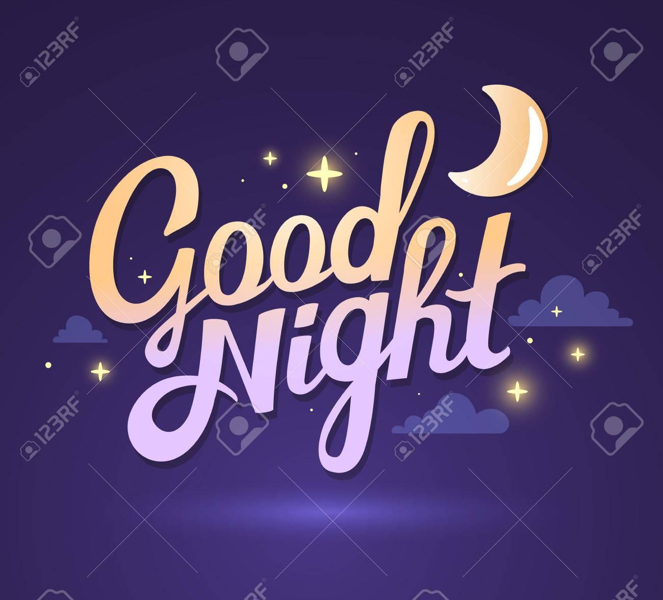 Illustration De Souhaiter Bonne Nuit Violet Foncé Fond De Ciel Avec La Lune Art Design Pour Le Web Site Publicité Affiche Brochure Carte Carte