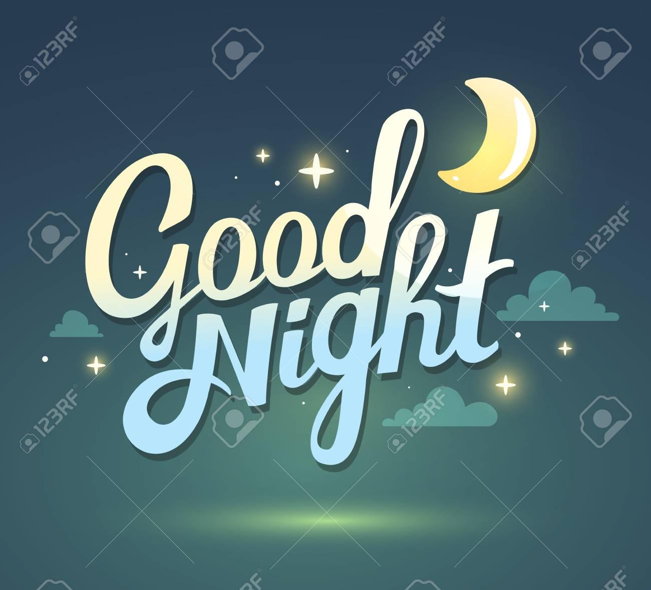 Ilustracion De Desear Buenas Noches En El Fondo Del Cielo Verde