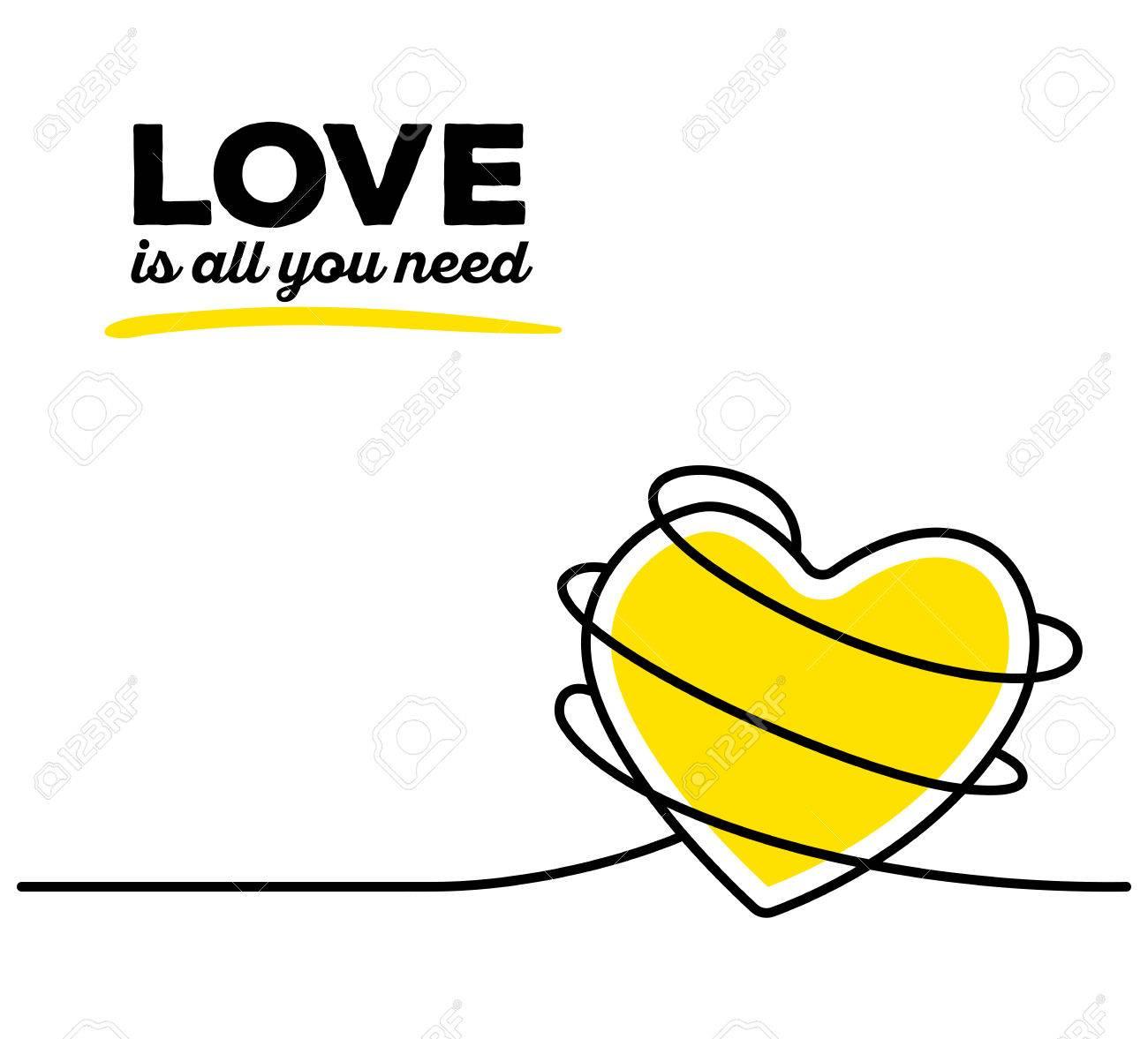 Vektor-Illustration Der Gelben Farbe Herz Mit Schwarzen Draht Und ...