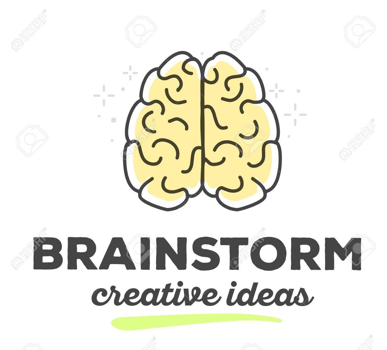 Vektor Illustration Der Kreativen Gehirn Mit Text Auf Weißem