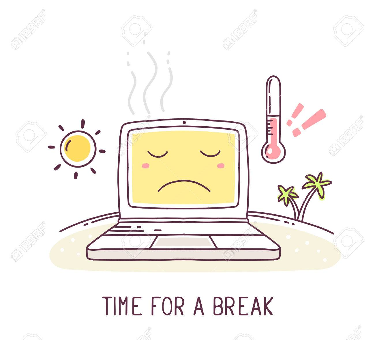 Vector illustration of yellow color sad laptop with sun and thermometer