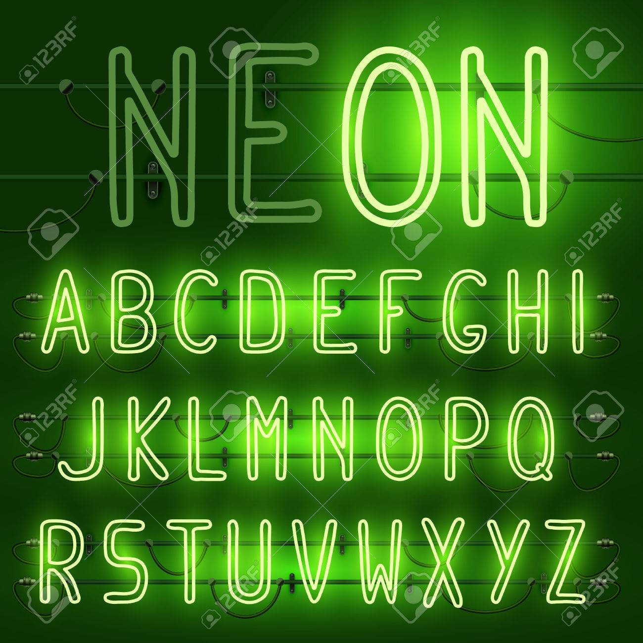 vector vector set of realistic neon letters of the english alphabet with wires on green background glowing neon light latin alphabet font