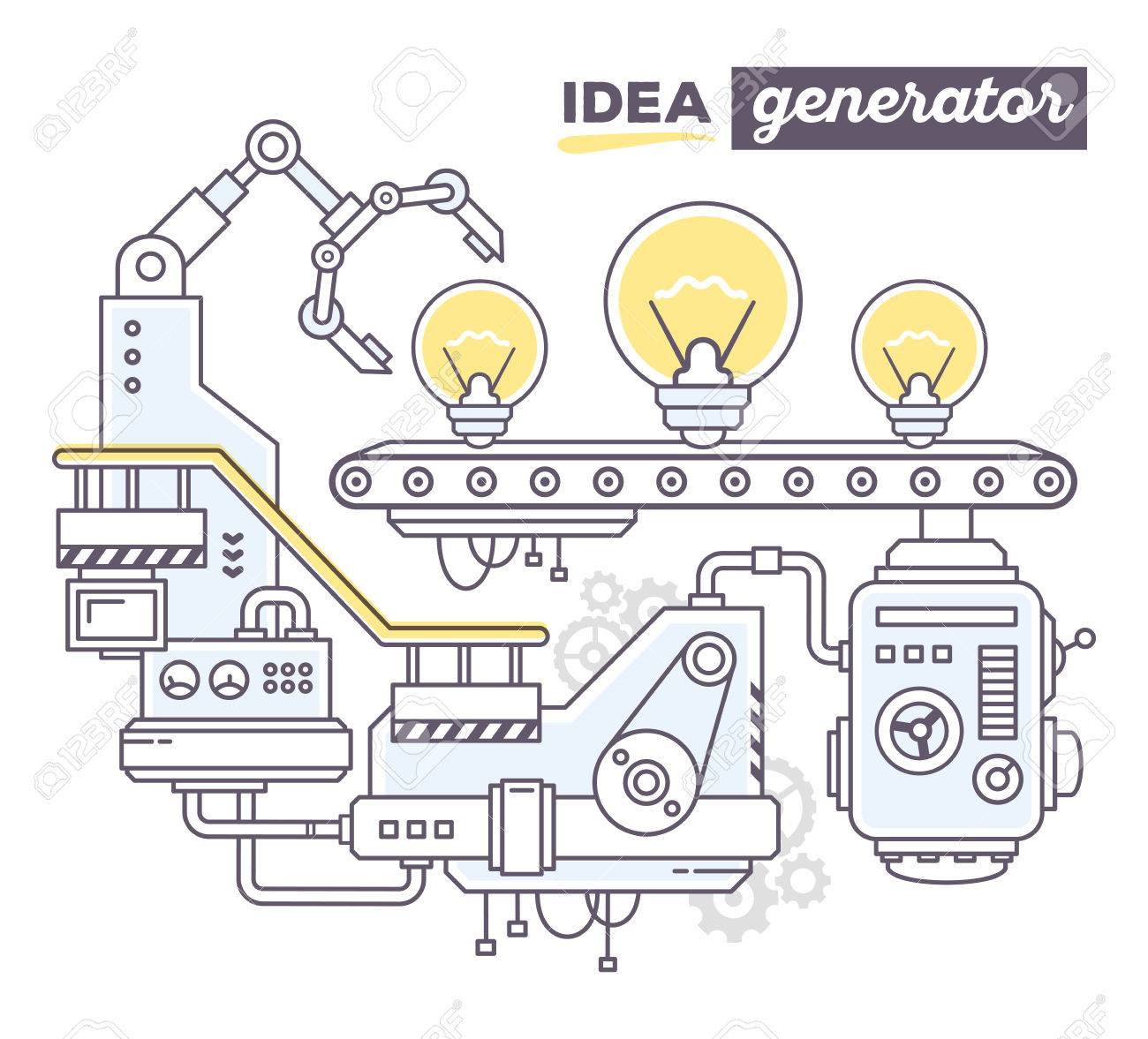 Vector Illustration Of Creative Professional Mechanism To Produce Light Bulb Schematic On The Conveyor Belt With Text Idea Generator White Background
