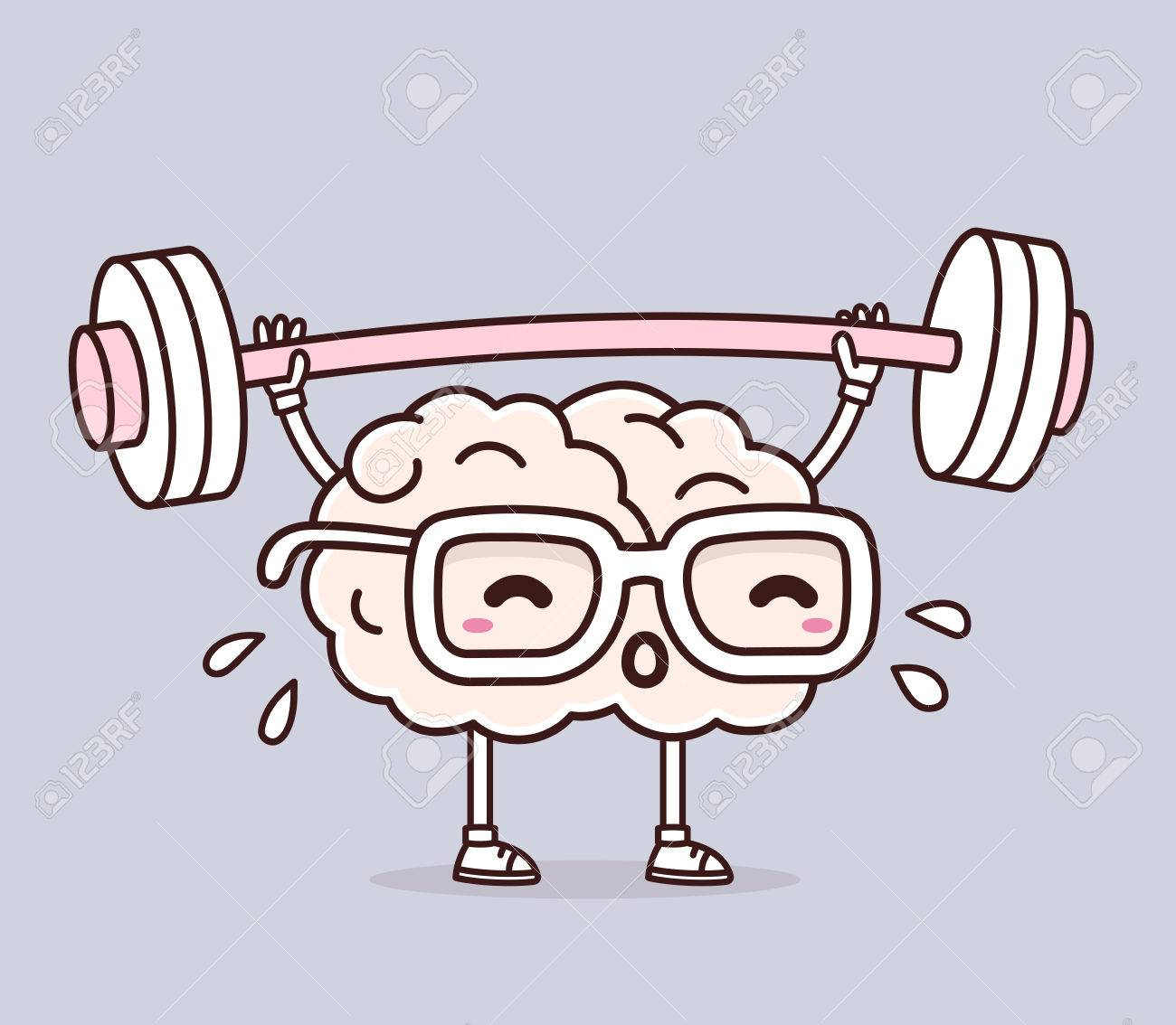 Vector illustration of retro pastel color pink brain with glasses lifting weights on gray background. Exercising cartoon brain concept. Doodle style. Thin line art flat design of character brain for sport, training, education theme - 60106358