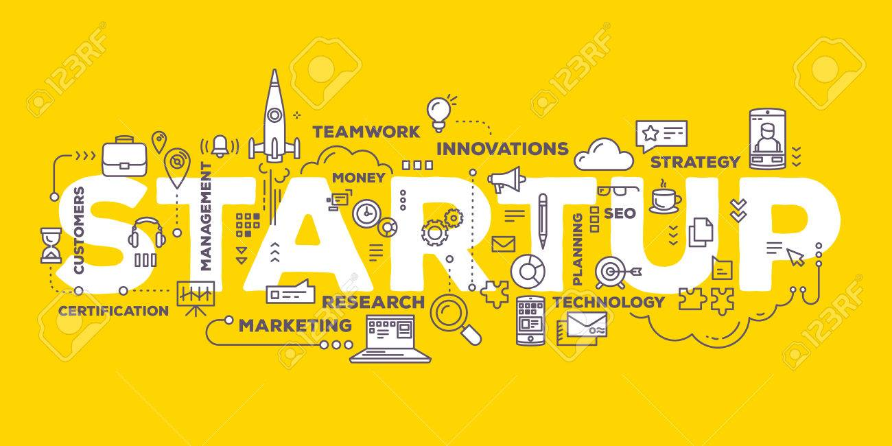 Vector creative illustration of business startup word lettering typography with line icons and tag cloud on yellow background. Startup technology concept. Thin line art style design for business startup, service development theme - 61326852