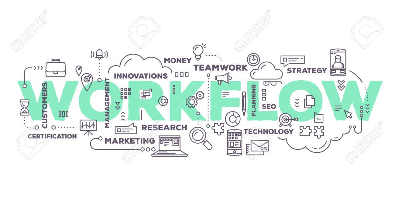 Vector creative illustration of workflow word lettering typography with line icons and tag cloud on white background. Business workflow technology concept. Thin line art style design for business workflow, plan, management theme - 61327724