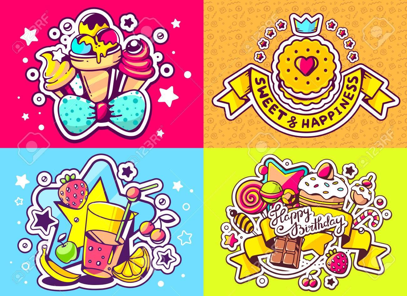 Vector Creativo Conjunto De Colores De La Ilustración De Cumpleaños ...