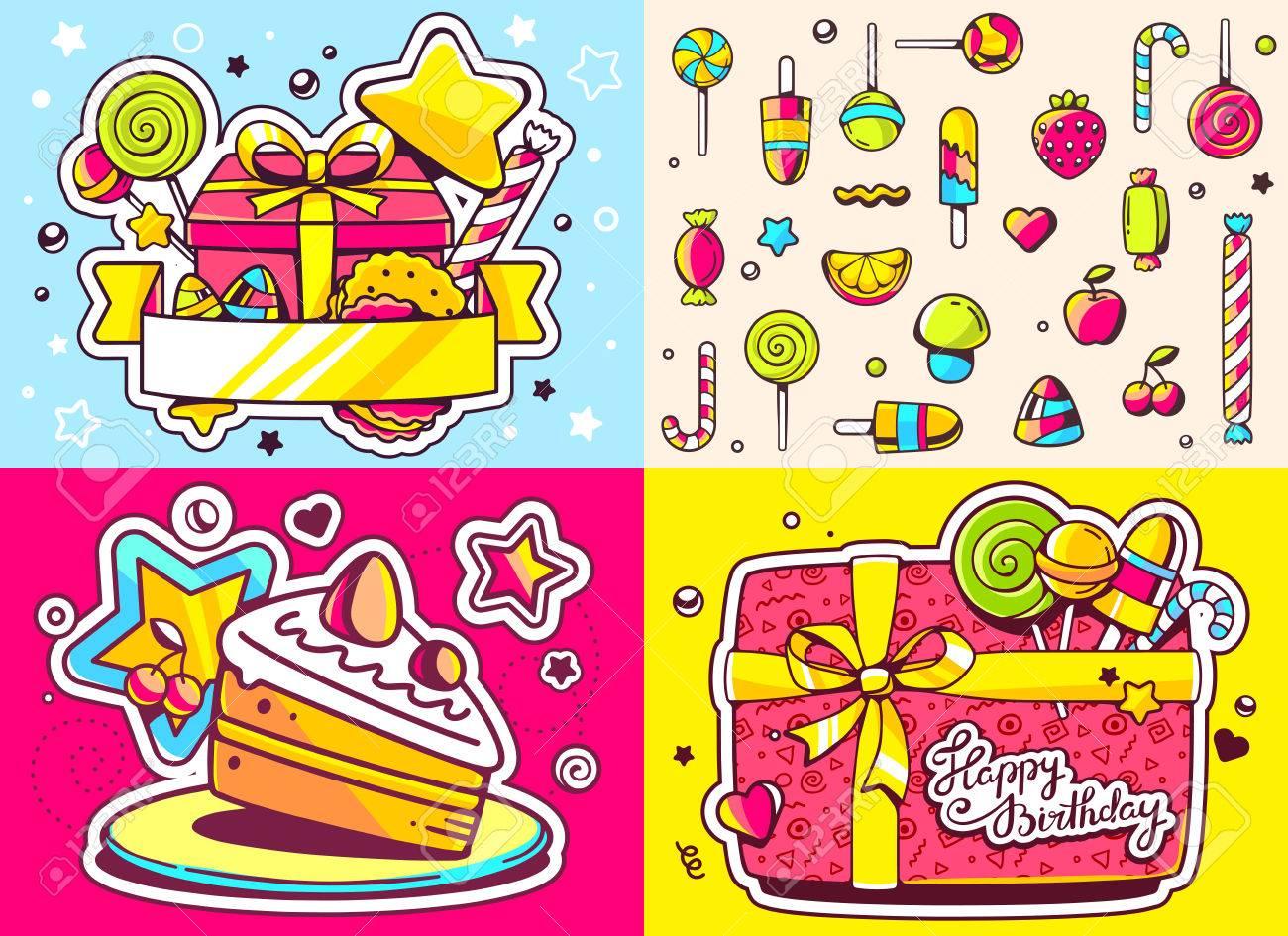 Vektor Kreative Bunte Reihe Von Geburtstag Illustration Mit Geschenk