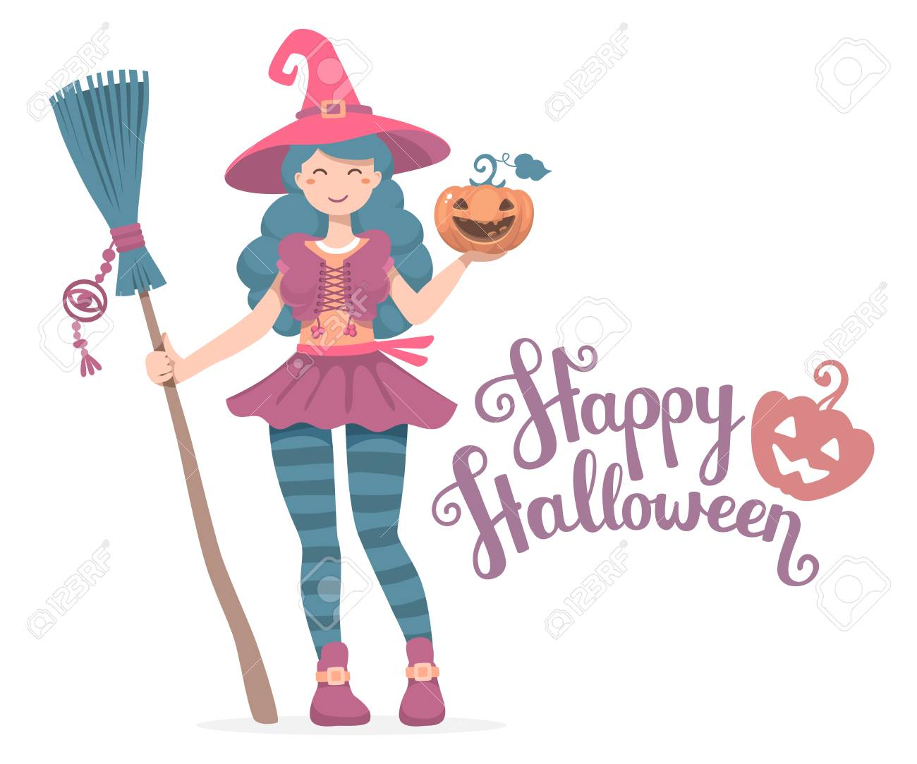 Vector Colorful Halloween Illustration Of Witch Character With Broom, Hat,  Pumpkin Wishes Happy Halloween
