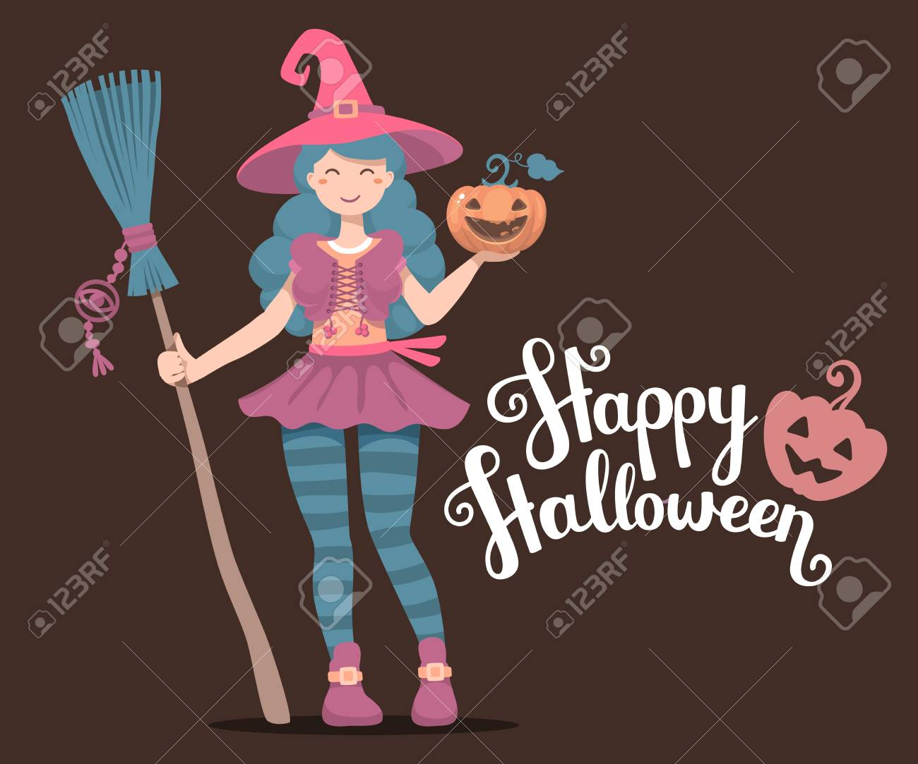 Vector   Vector Colorful Halloween Illustration Of Witch Character With  Broom, Hat, Pumpkin Wishes Happy Halloween On Dark Background.
