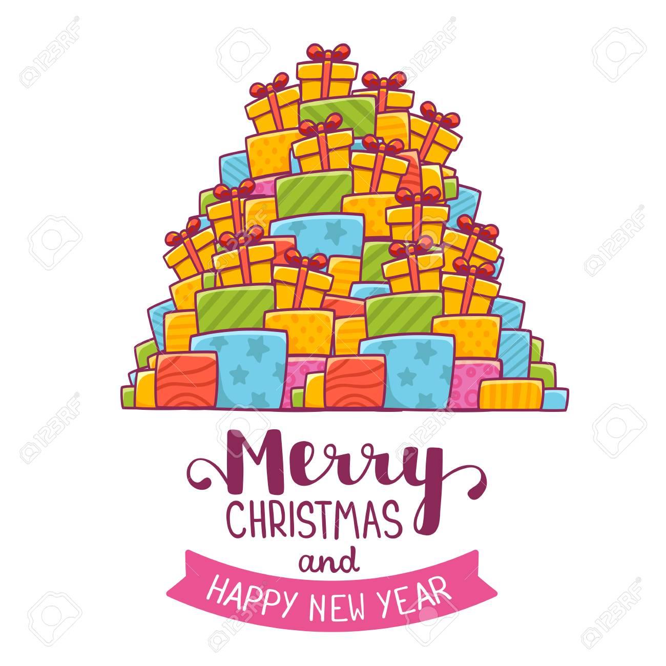 Vector Illustration De Couleurs Haute Pile De Cadeaux De Noël Et De Texte Manuscrit Joyeux Noël Sur Fond Blanc Main Dessiner La Conception De L Art
