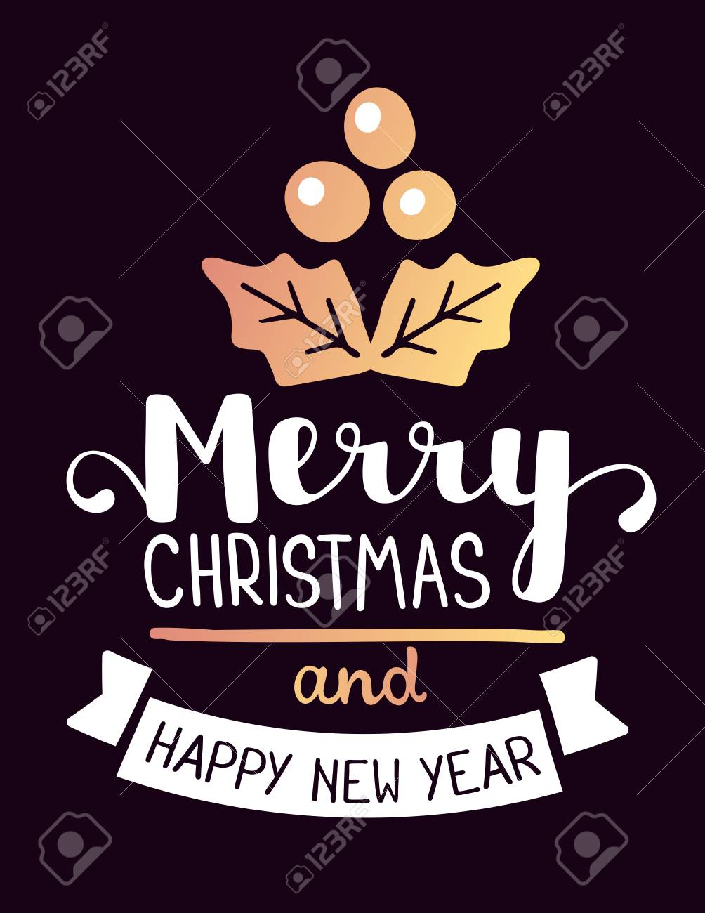Vector illustration of golden color christmas mistletoe with vector illustration of golden color christmas mistletoe with handwritten text merry christmas and happy new year buycottarizona Image collections