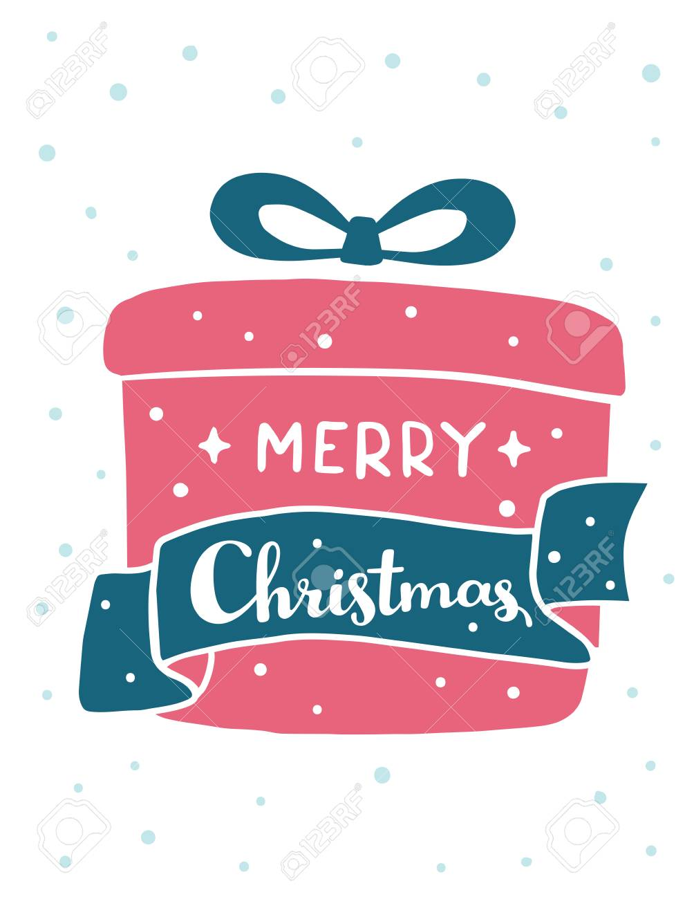 Illustration Vectorielle De Cadeau De Noël De Couleur Rouge Avec Un Texte Manuscrit Joyeux Noël Et Neige Sur Fond Blanc Main Dessiner Design Plat
