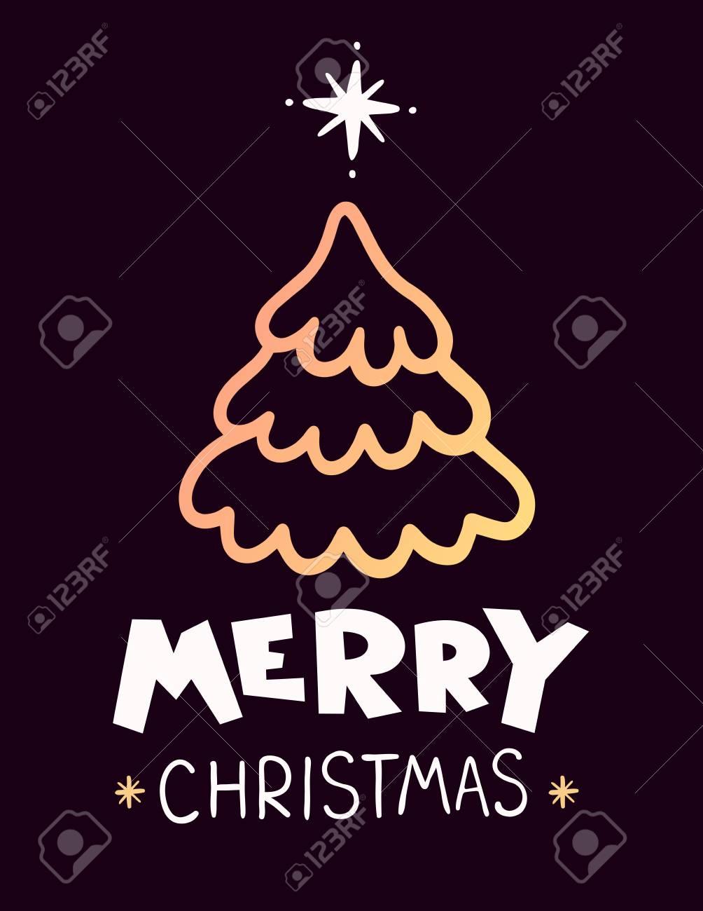 Illustration Vectorielle De Sapin De Noël De Couleur Dorée Avec