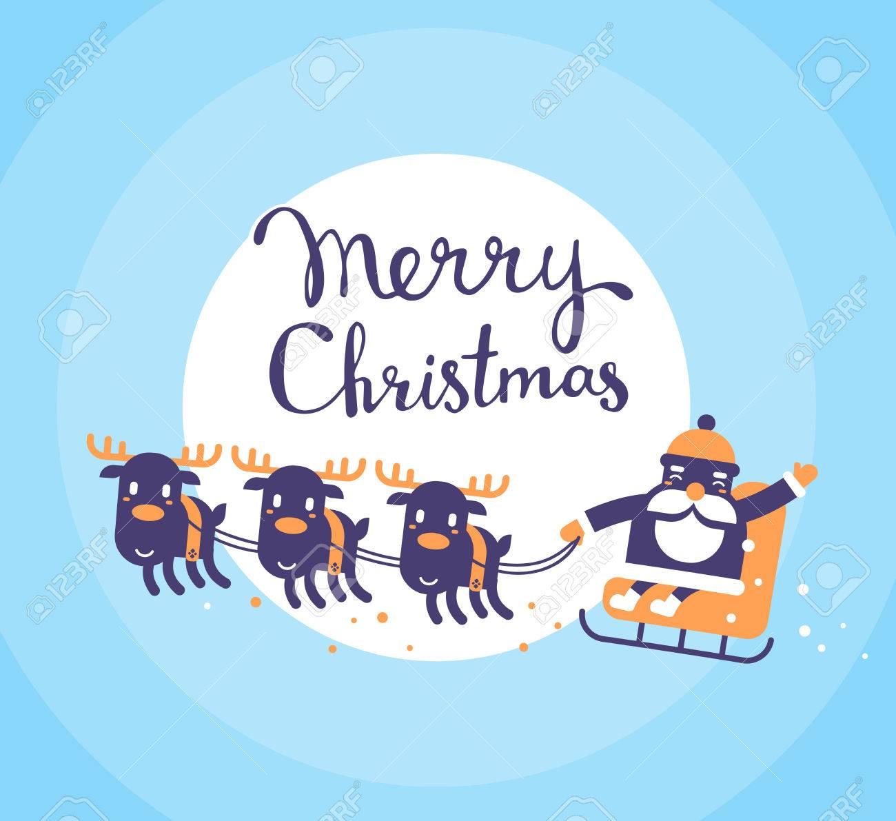 ベクトル クリスマス イラスト手書きのテキストとトナカイとそりでサンタ