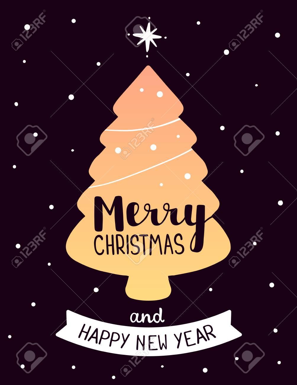 Vector Illustration De Couleur Dorée Forme Noël Sapin Avec Texte