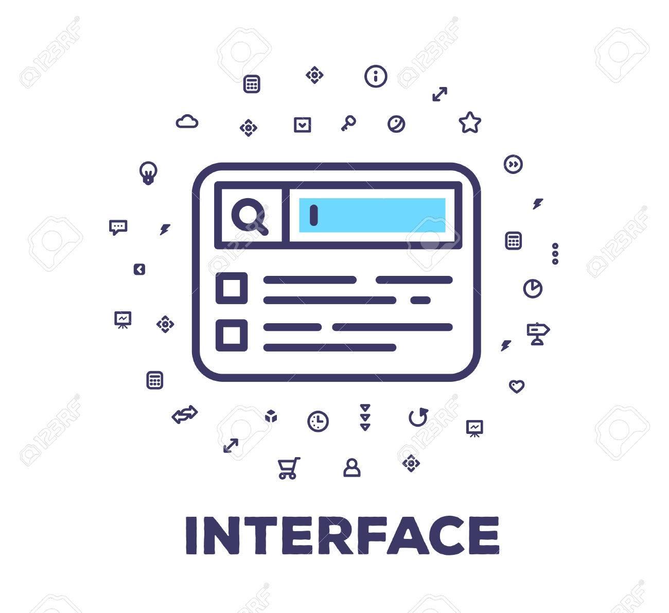 Banque d images - Vector illustration d un navigateur de recherche sur fond  blanc avec l icône nuage. élément d interface utilisateur concept linéaire  ... 1759db7ba3c4