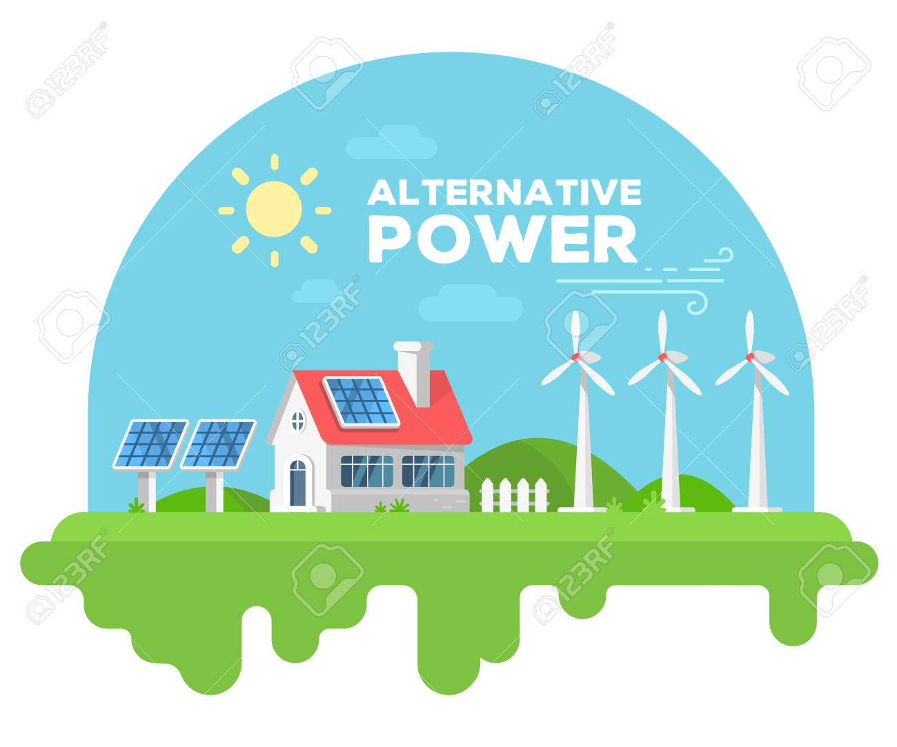 Vector illustration of beautiful house with chimney and fence on green grass. Alternative energy sources concept with windmill and solar panel on white background. Flat style design for web, site, banner, poster - 80258298