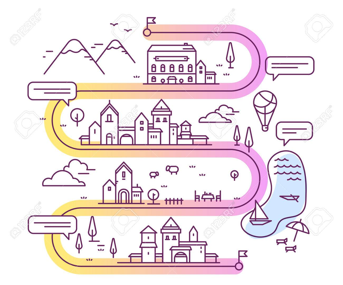 Vector illustration of city navigation with speech bubble road map with buildings and countryside lake mountain restaurant hotel thin line art design for web site advertising banner publicscrutiny Gallery