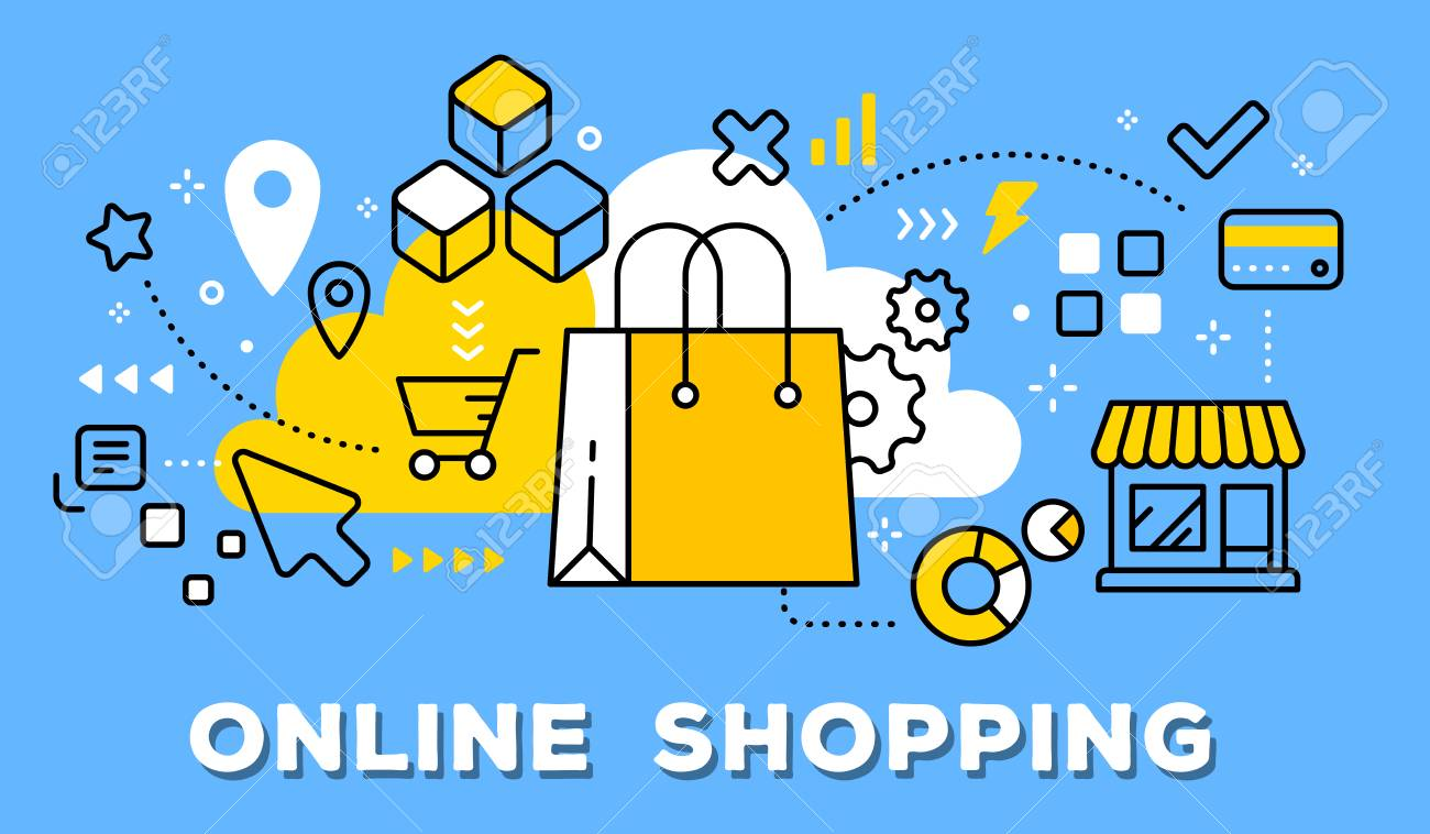 Vector illustration of yellow shopping hand bag, store and icons. Online shopping concept on blue background with title. - 88218051