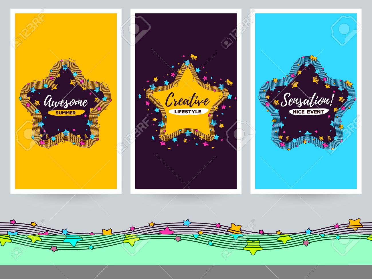 vector template with illustration of big star with a wave along