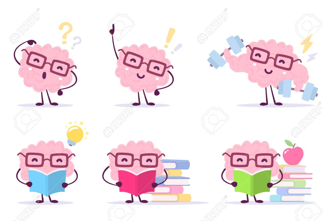 Enjoyable education brain cartoon concept. Set of illustration of pink color happy brain with glasses on white background with pile of books, light bulb, dumbbells. Flat style design of character brain for knowledge. - 89999050