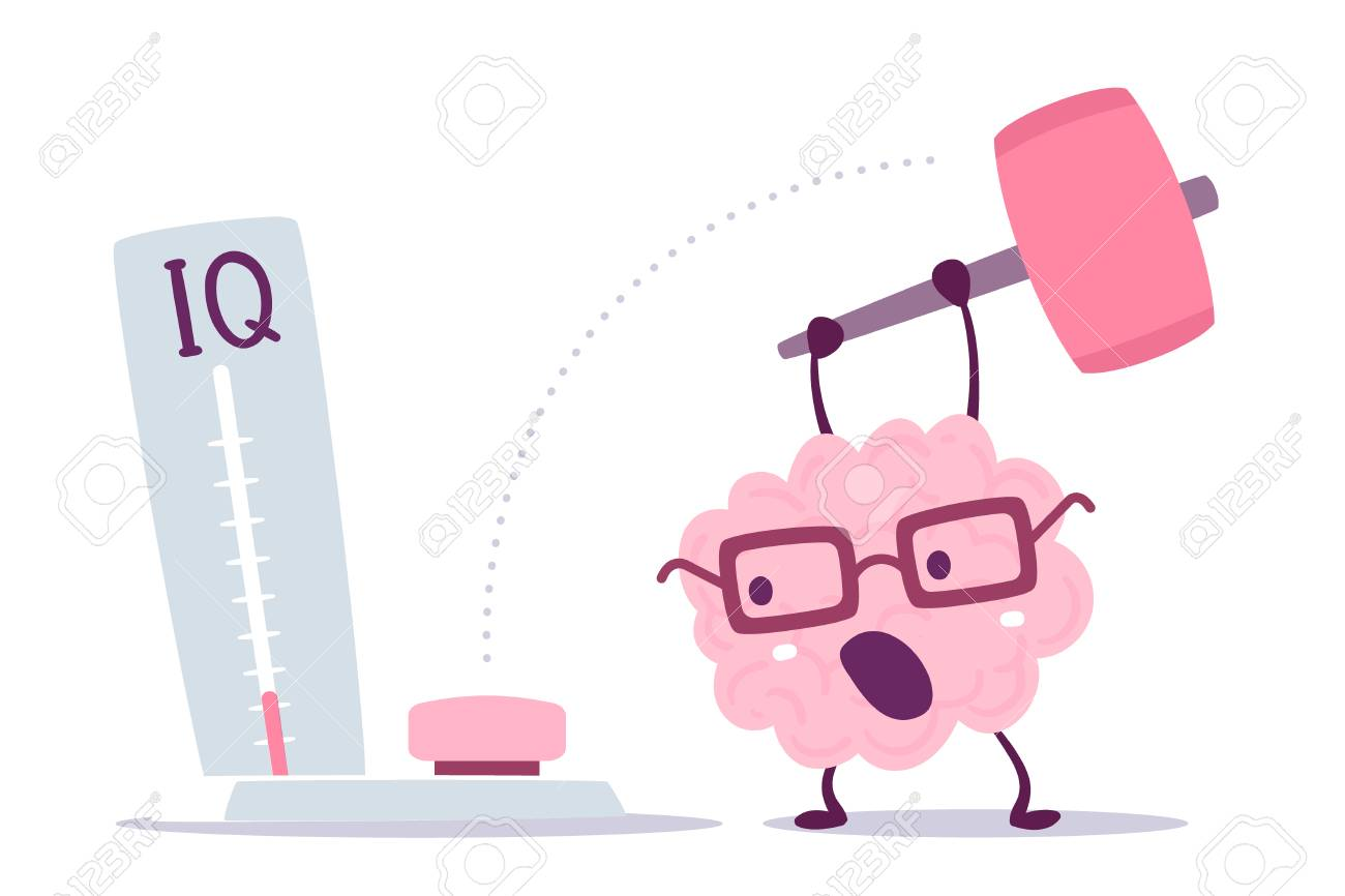 A Vector illustration of pink color human brain with glasses hits with a hammer to measure IQ level on white background. Very strong cartoon brain concept. Doodle style. Flat style design of character brain for training, education theme - 89999159