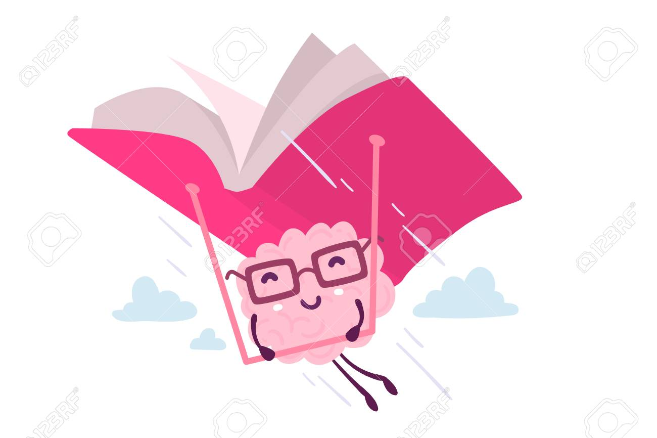 Illustration of pink color brain character with glasses flying on a book hang glider in the sky on white background. Enjoyable education brain cartoon concept. Flat style design of character brain for knowledge, education theme - 90000442