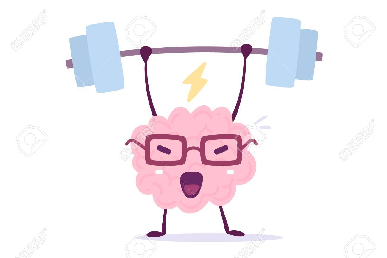 Illustration of pink color brain character with glasses lifting weights on white background. Doodle style. Flat style design of character brain for sport training - 90000130