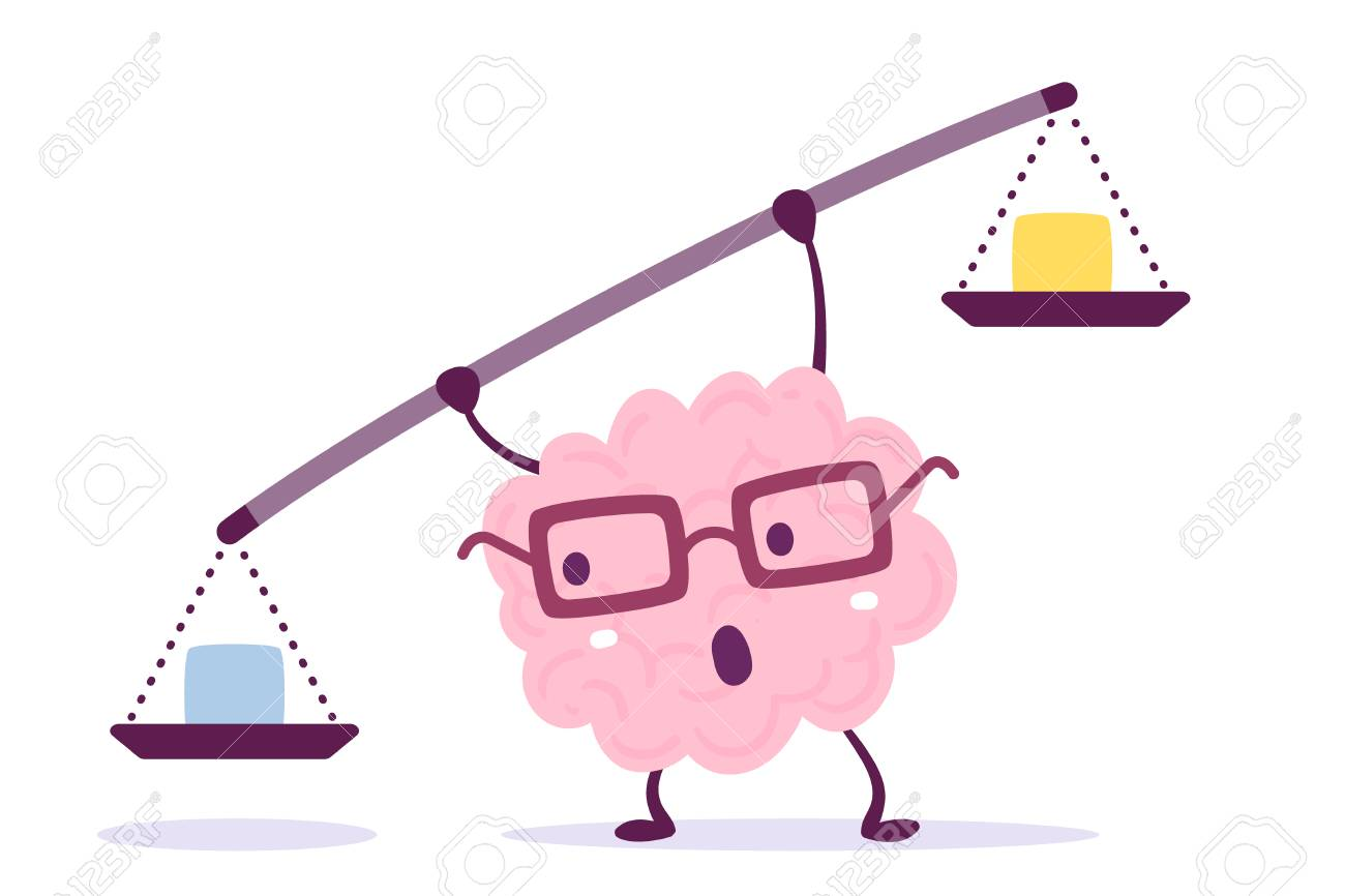 Vector illustration of pink color human brain with glasses holding a scales in hands on white background. Decision making cartoon brain concept. Doodle style. Flat style design of character brain for training, education theme - 90016055