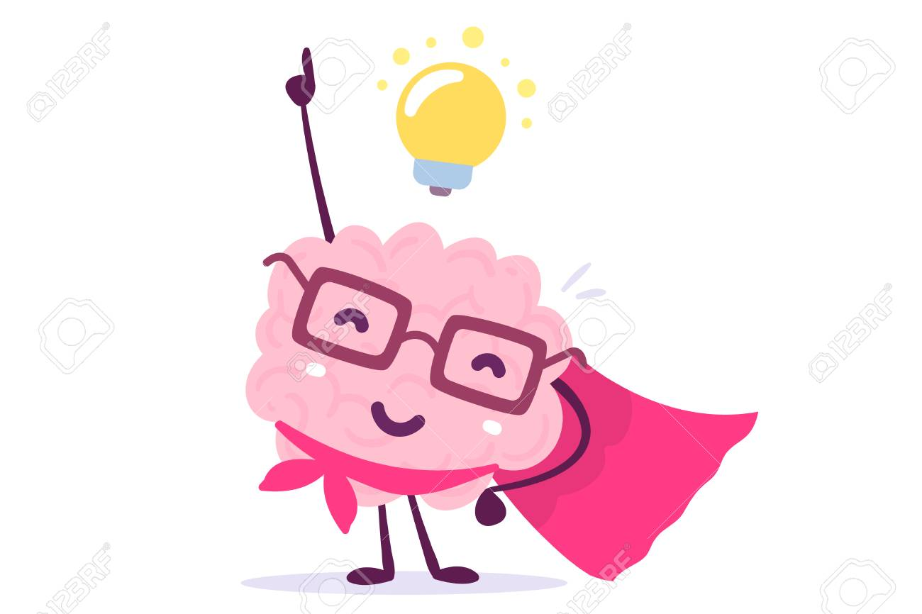 Vector illustration of pink color human brain with glasses as a super hero and light bulb on white background. Inspiration cartoon brain concept. Doodle style. Flat style design of character brain for training, education theme - 90016057