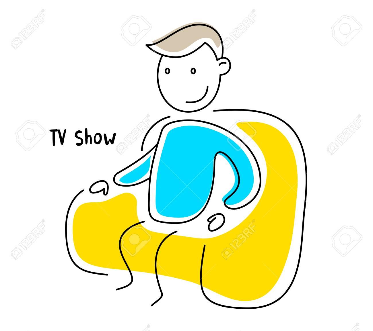 白い背景の上の非常に快適な肘掛け椅子に座っている男のベクトル カラー